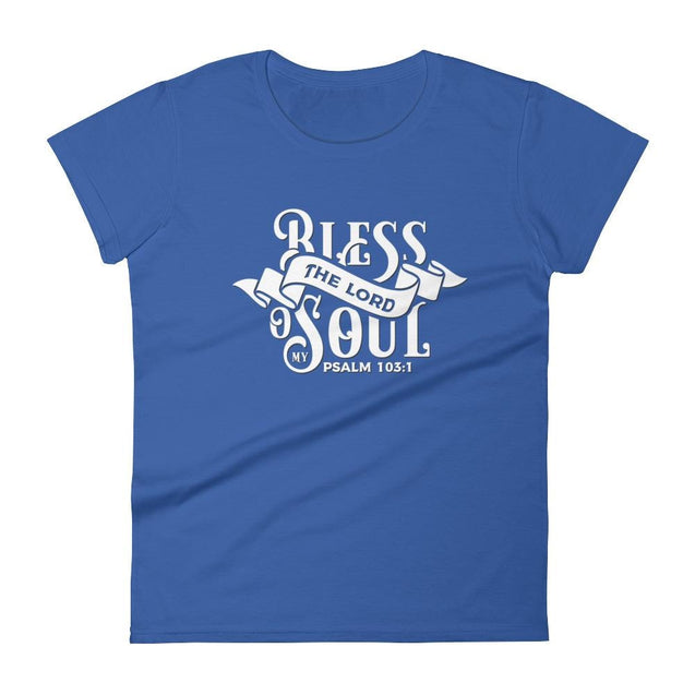 Womens Bless The Lord Christian T-Shirt - Royal Blue / S - T-Shirt