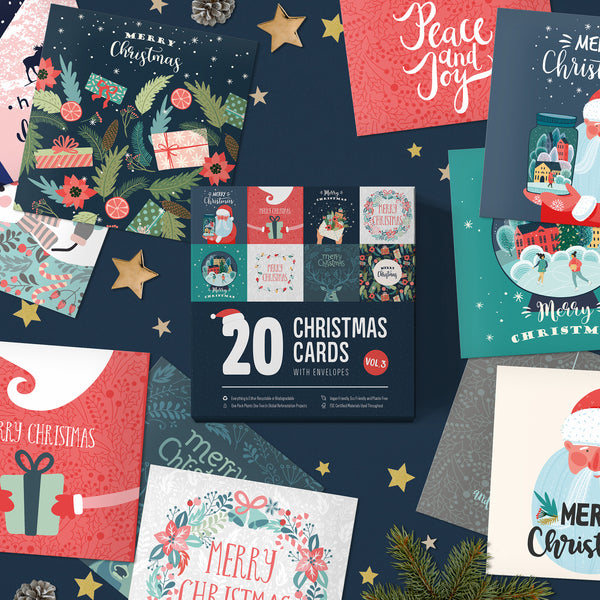 Christmas Cards Pack of 20 | Eco Friendly | Plastic Free | Made in The UK | Pack of Christmas Cards New for 2020