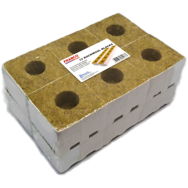 Rockwool Blocks 4inch Bored Pack of 12