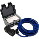 Outdoor Mains Two Socket Wiring kit RCD Plug, Cable, Twin IP66 Switched 13Amp UK Sockets