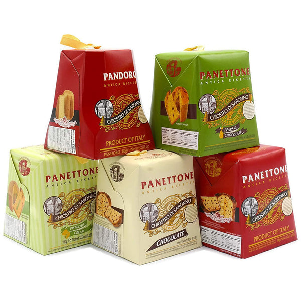 Tower of Panettones 5 Individual Authentic Italian Cakes Variety Stack