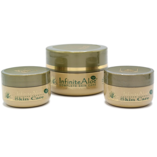InfiniteAloe Fragrance Free Skin Care Pack 1 x 2oz + 2 x .5oz Travel pots