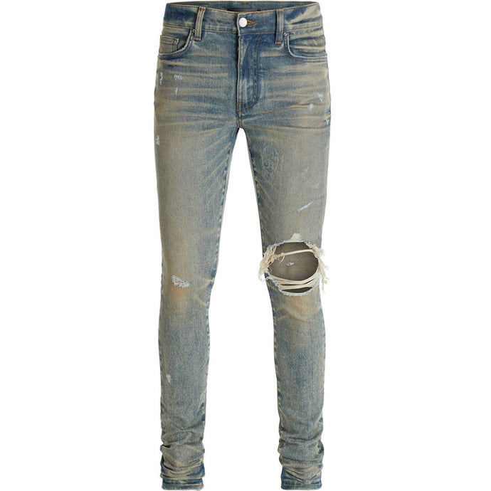 AMIRI BROKEN INDIGO DISTRESSED DENIM