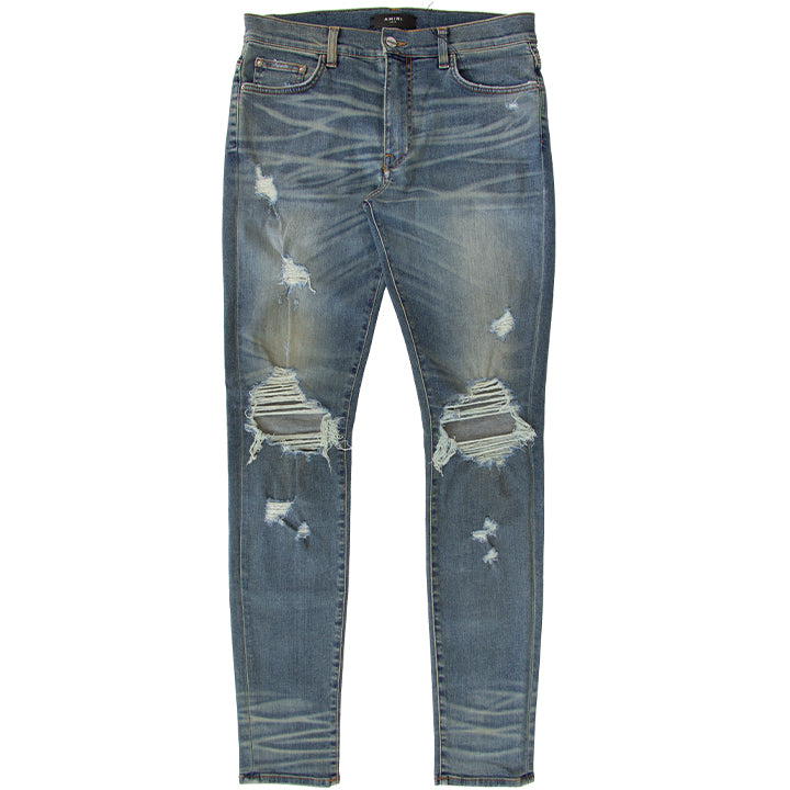 AMIRI DISTRESSED SKINNY THRASHER CLASSIC INDIGO DENIM