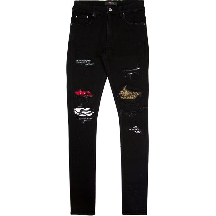 AMIRI DISTRESSED SKINNY ART PATCH DENIM