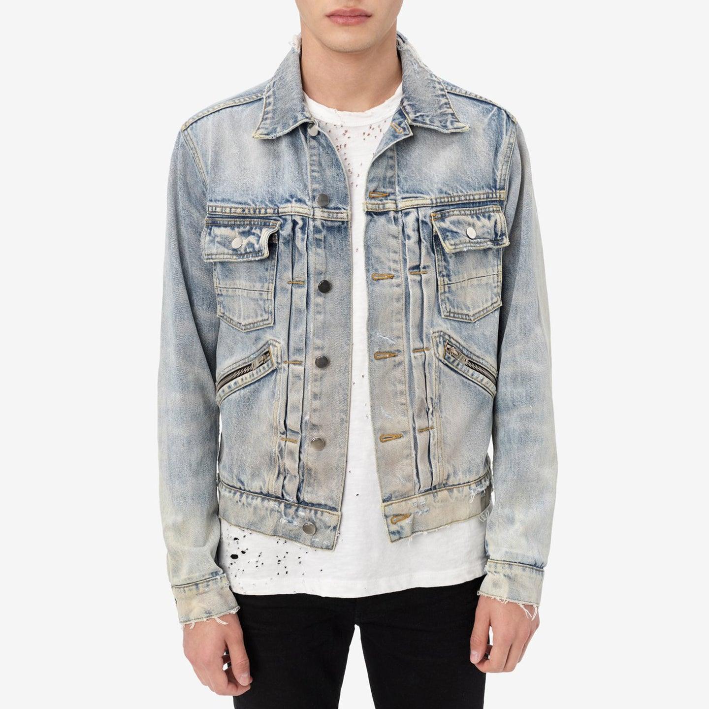 AMIRI DOUBLE SLANT DENIM JACKET