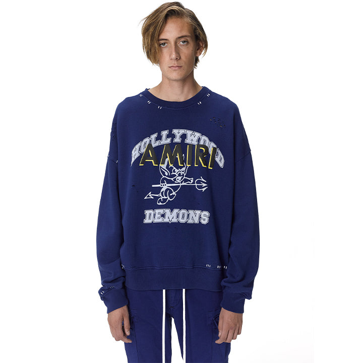 AMIRI HOLLYWOOD DEMONS OVERSIZED CREWNECK