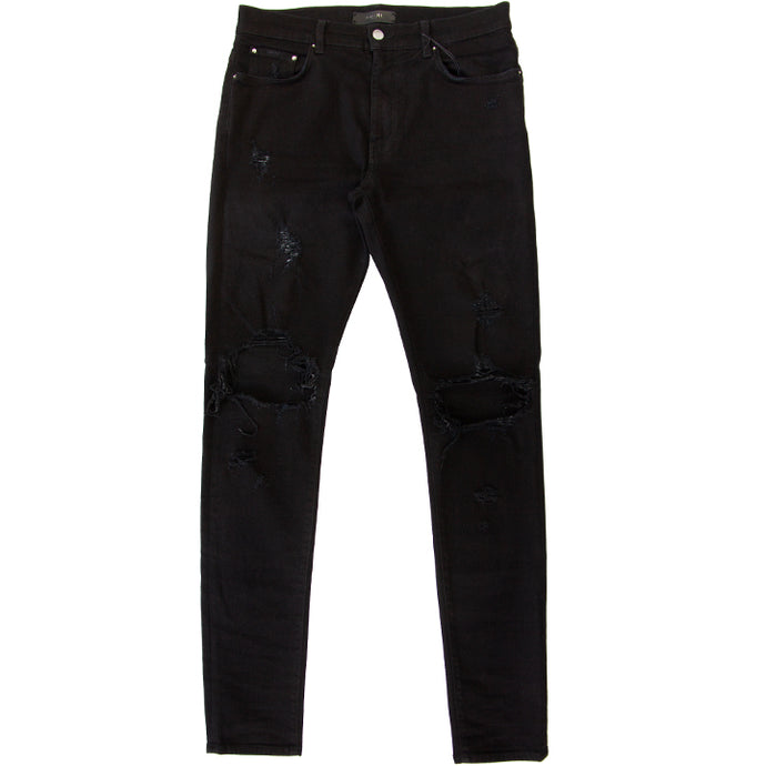 AMIRI DISTRESSED SKINNY THRASHER DENIM