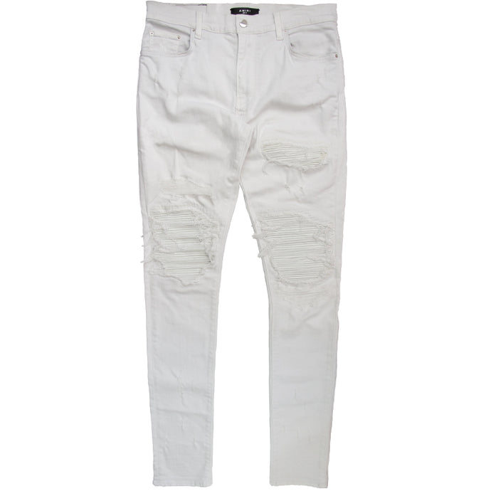 AMIRI DISTRESSED MX1 LEATHER PATCH DENIM