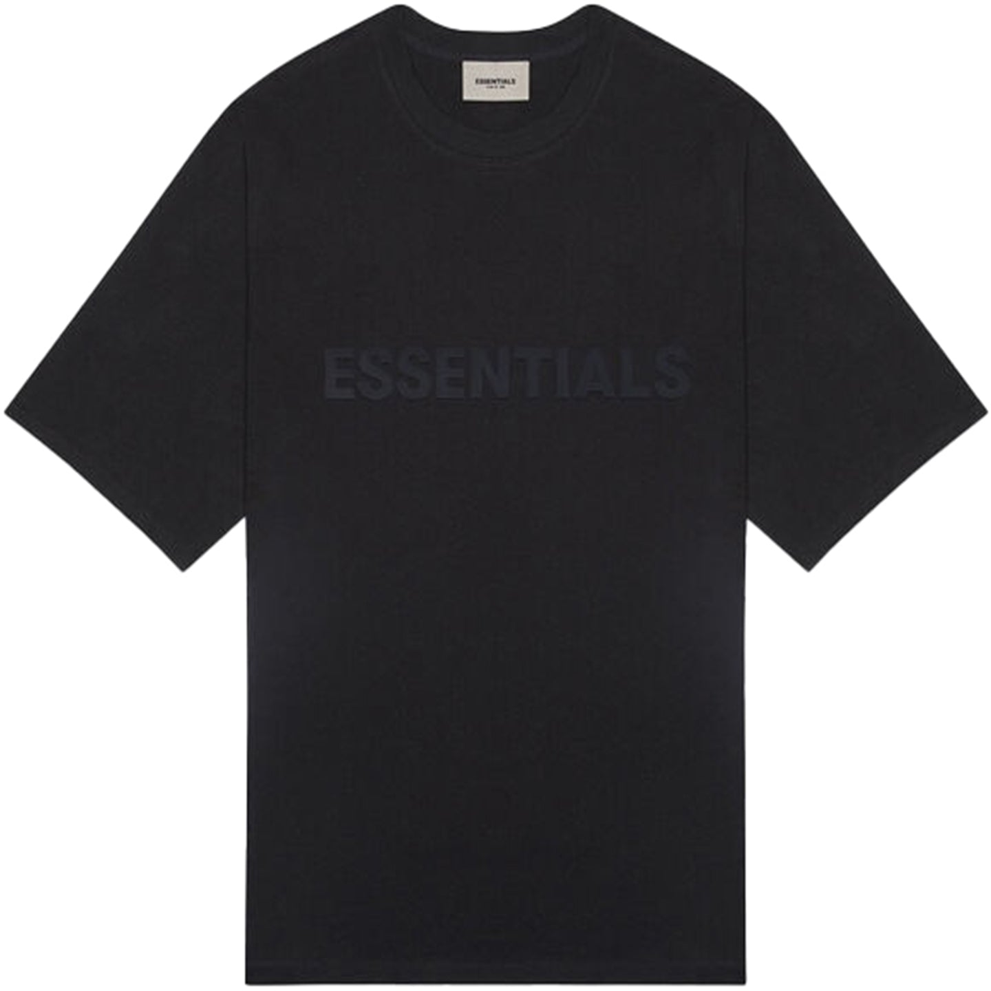 FEAR OF GOD ESSENTIALS BLACK LOGO TEE