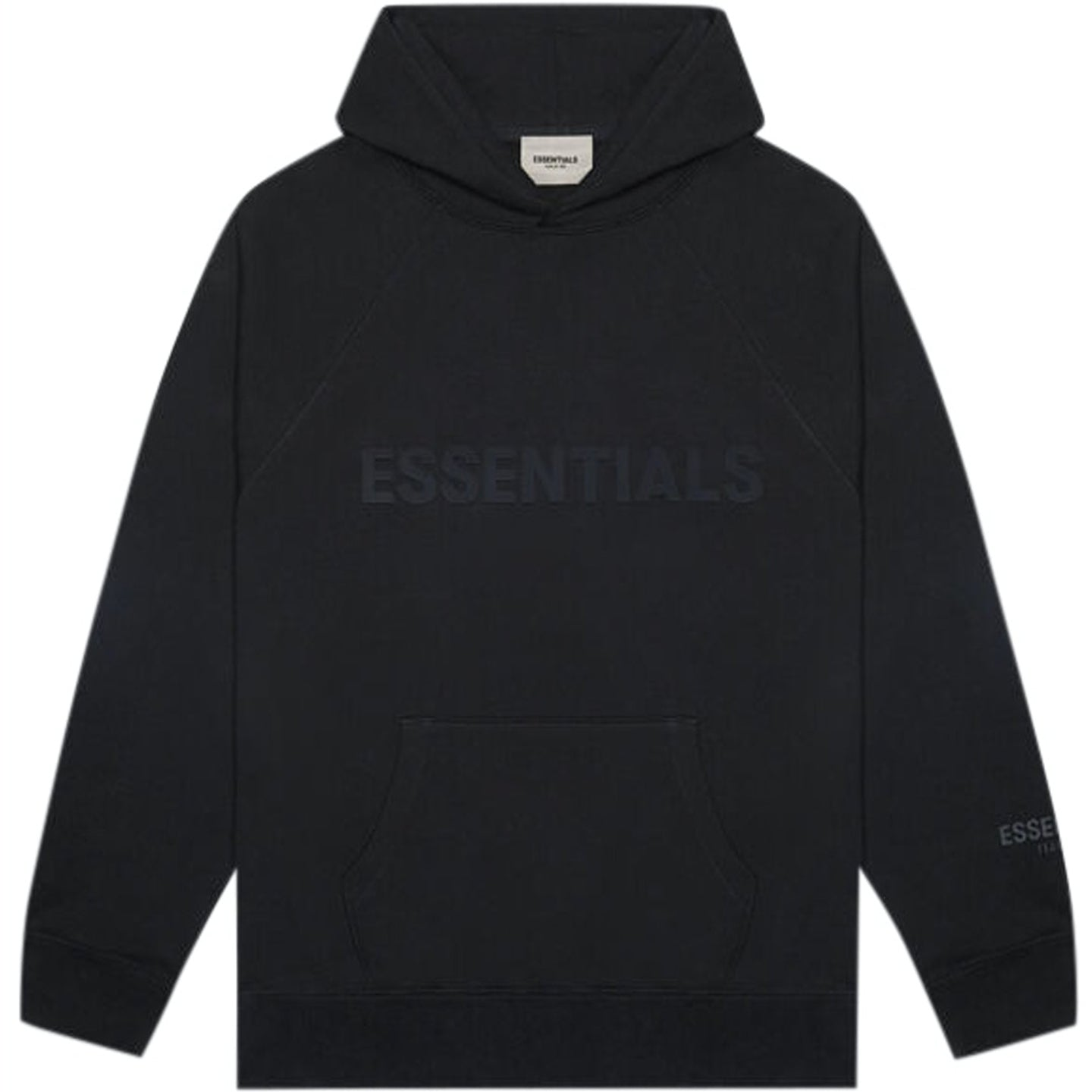 FEAR OF GOD ESSENTIALS BLACK LOGO HOODIE