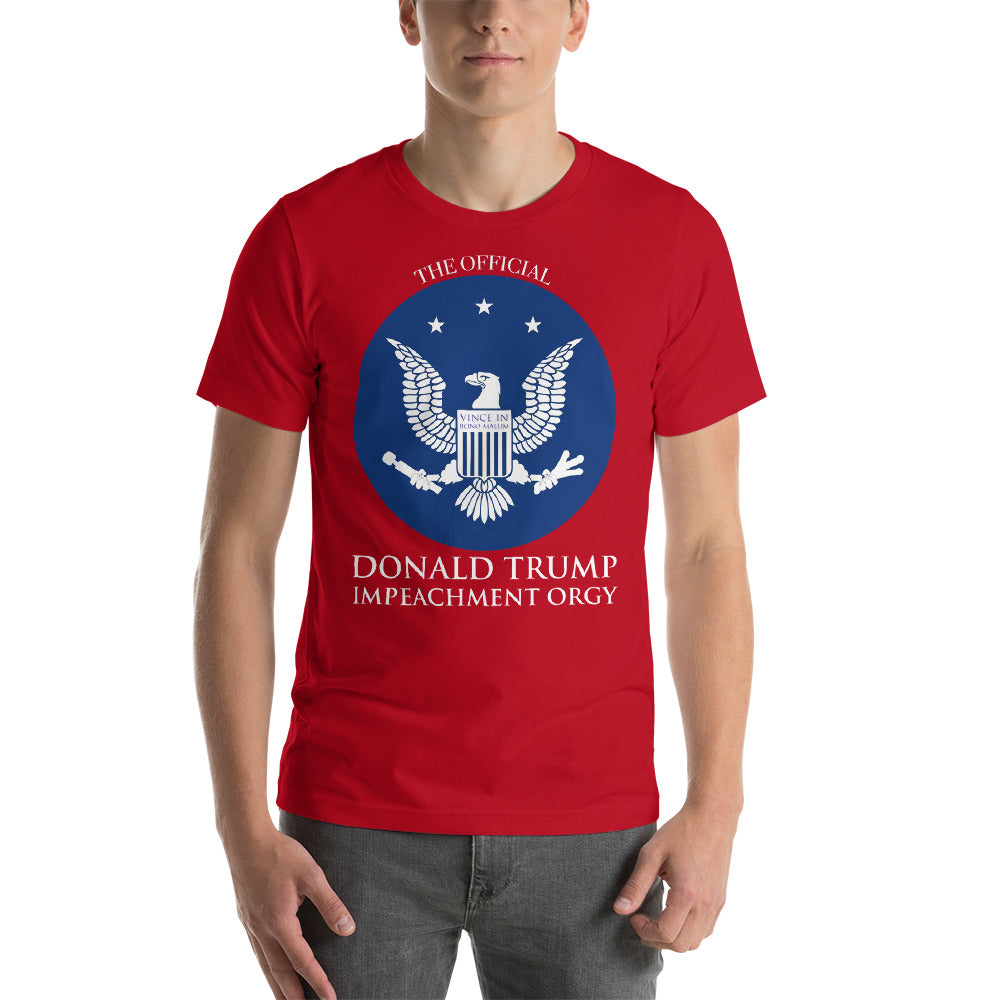 """The Official Donald Trump Impeachment Orgy"" Short-Sleeve Unisex T-Shirt"