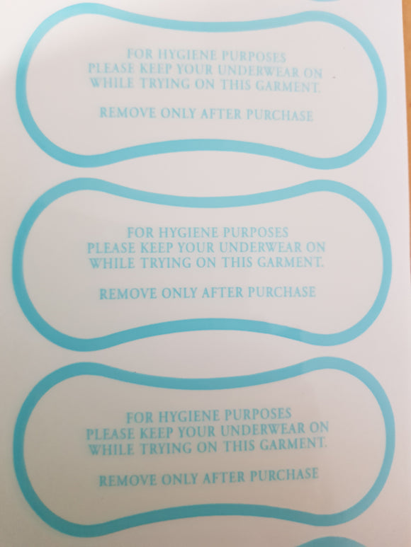 Adhesive Hygiene Labels for Swimwear -Lingerie Blue Print