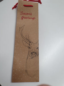 Stag Forest Design on Brown Kraft Single Wine Bag
