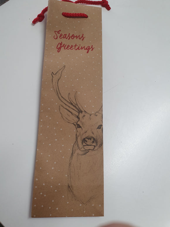 Stag Forest Design on Brown Kraft Single Wine Bag 2 Packs Only