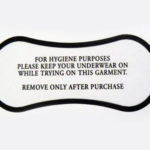Adhesive Hygiene Labels for Swimwear -Lingerie Black Print