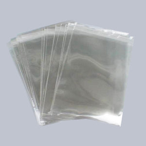 BOPP 95mm x 95mm High Clarity Poly Prop Bags Resealable Flap