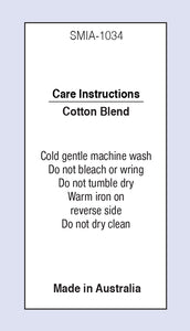 Care Labels Cotton Blend MIA Satin Fabric