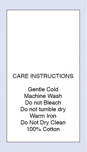 Care Labels 100 % Cotton Gentle Cold Machine Wash