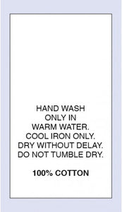 Care Labels 100 % Cotton Warm Hand Wash