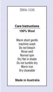 Care Labels 100 % Wool MIA on Satin Fabric