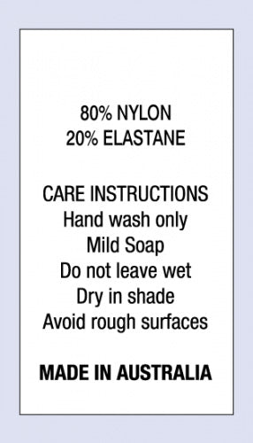 Care Labels 80 % Nylon 20 % Elastane MIA on Satin Fabric