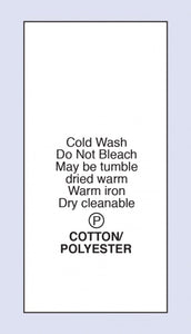 Care Labels Cotton Polyester Cold Machine Wash