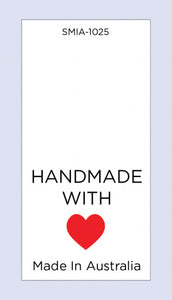 Care Labels Hand Made with Love Red Heart with MIA on Soft Satin