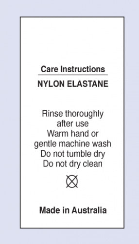Care Labels Nylon Elastane MIA on Soft Satin Fabric