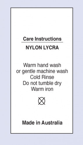 Care Labels Nylon Lycra MIA on Soft Satin Fabric