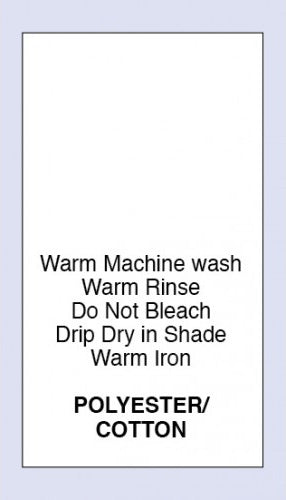 Care Labels Polyester Cotton Warm Machine Wash