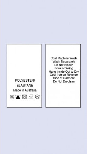 Care Labels Polyester Elastane MIA Printed 2 Sides