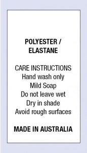 Care Labels Polyester Elastane MIA on Soft Satin Fabric