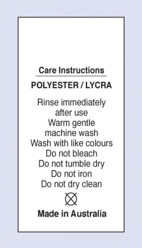 Care Labels Polyester Lycra MIA on Soft Satin Fabric