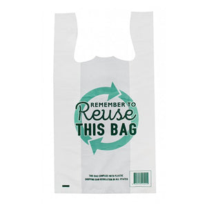 Reusable Singlet Bags Large White Rememember to Reuse 38 um