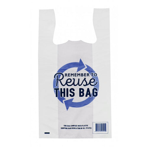 Reuseable Singlet Bags Medium White Remember to Reuse 38 um
