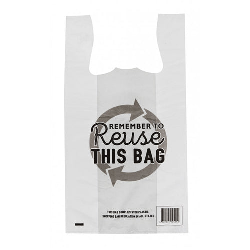 Reuseable Singlet Bags Small White Remember to Reuse 38 um