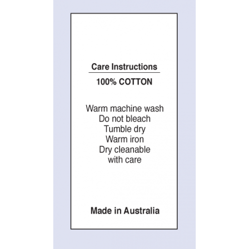 Care Labels 100 % Cotton Warm Machine Wash MIA on Satin Fabric