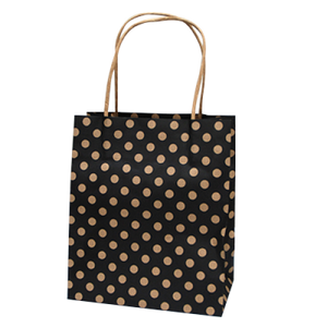 Spot Baby Black Paper Carry Bags on Natural Kraft