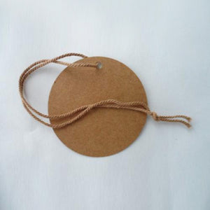 Swing Tags Brown Recycled Card Large Circle 75mm