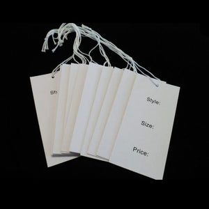 Swing Tags White Recycled Stock Style Size Price