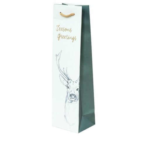 Stag Forest Design on White Kraft Single Wine Bag