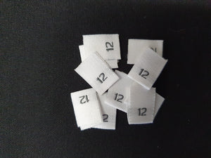Woven labels with Black Text - size 12