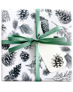 Christmas Black Pine Cone Wrapping Paper 500mm W x 50 Metre Roll