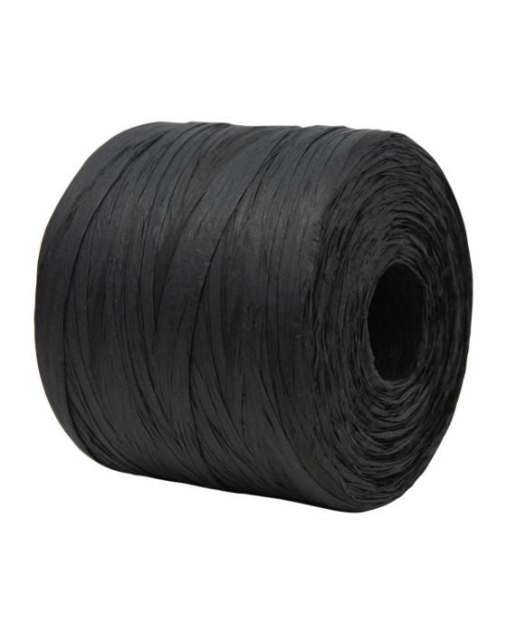 Paper Raffia Black 4 mm x 500 Metres Bulk Roll
