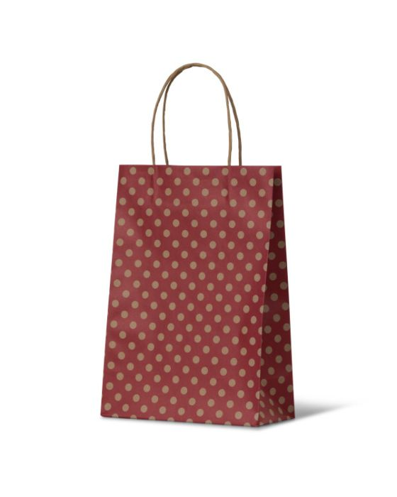 Spot Junior Red Paper Carry Bags on Natural Kraft