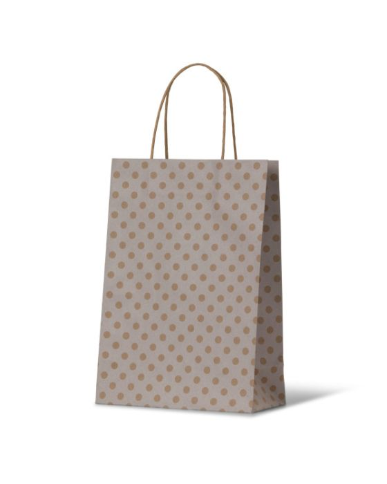Spot Junior White Paper Carry Bags on Natural Kraft