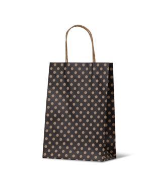 Spot Junior Black Paper Carry Bags on Natural Kraft