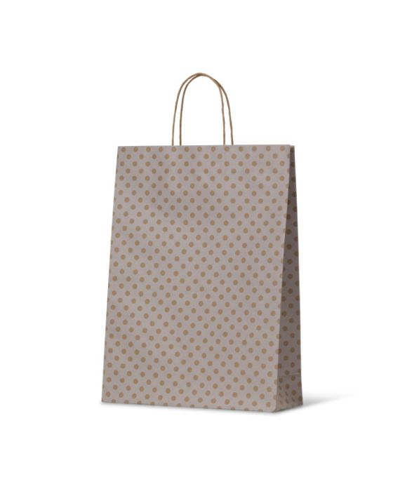 Spot Medium White Paper Carry Bags On Natural Kraft