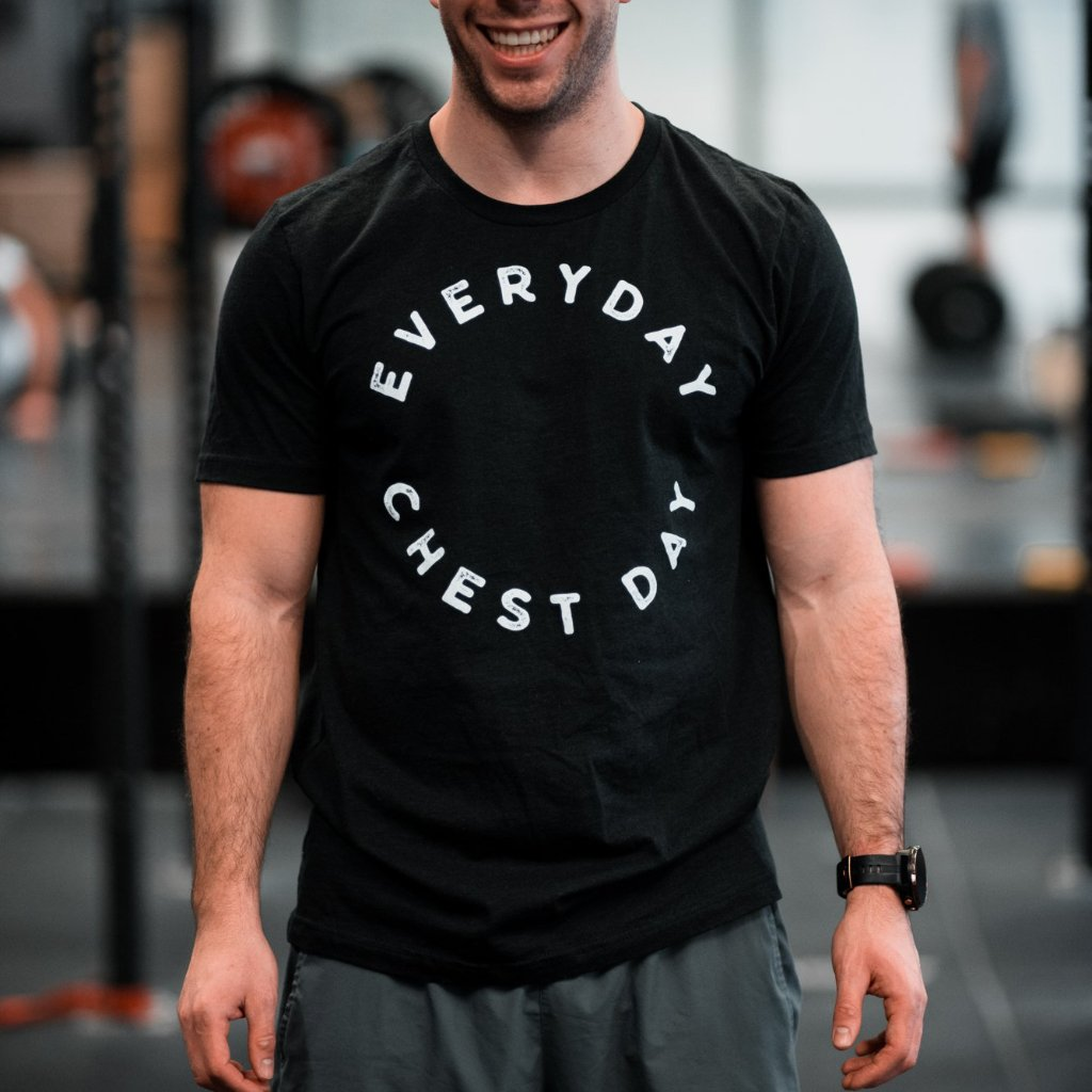 Everyday chest day Black Men's T-Shirt-Dumb & Dumbbell